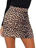 Ebu Gogo Women's Faux Suede Above Knee Leopard Mini Pencil Skirt Beige