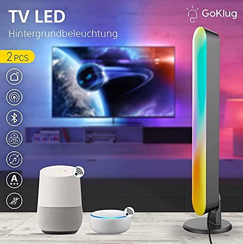 GoKlug White and Color Ambiance Play Lightbar 2-er Pack, Dimmbar 16 Millionen Farben, Steuerbar via App Kompatibel mit Amazon Alexa & Google Home Kein Hub Smart Musik Sync WLAN RGBW TV LED Licht A+++