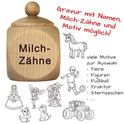 Milchzahndose mit Gravur - Zahndose mit Namen personalisiert - Baby Zahnbox für Milchzähne als Geschenke für Jungen und Mädchen von Geschenkissimo