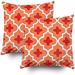 KIOAO Christmas Pillowcase Standard 2PCS 20X20Inches Square for Cushion Home Decorative, Moroccan Tile Mandarin Orange Pillow Covers Printed with Both Sides of Cotton