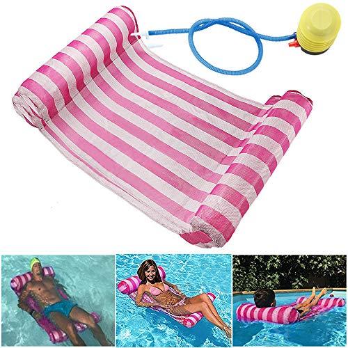 GEYUEYA Home Wasserhängematte Lounge Stuhl Luftmatratze Schwimmende Wasserbett Matte Swim Aufblasbare Kopf für Erwachsene Rosa 120kg