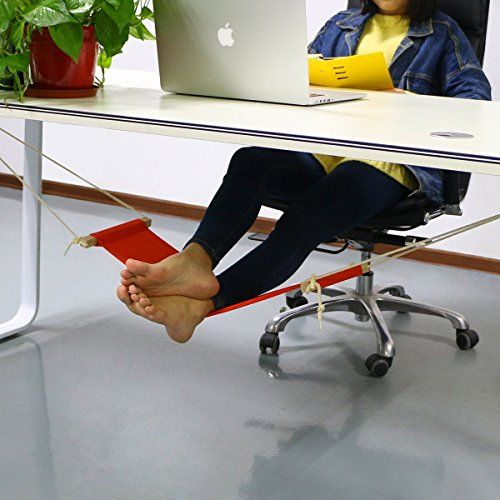 Adjustable Mini Foot Rest Stand Office Desk Feet Hammock Orange