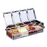 Caja de condimento de acrílico gourmet de cocina con 4 cucharas para servir