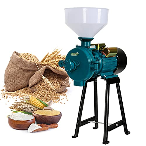 Electric Grain Mill Grinder 2200W Commercial Heavy Duty Feed Pulverizer Machine, Farm Dry Wet Cereals Milling for Corn Grain Wheat Coffee Spice, with Funnel, 110V Blue -  Rocita