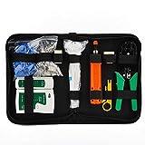 Selcouthlie Kit de Herramientas de ReparacióN de Red RJ45 RJ11 RJ12 CAT5 CAT5E Cable Tester Pelacables Crimper Set
