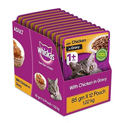 Whiskas Adult (+1 year) Wet Cat Food, Chicken in Gravy, 12 Pouches (12 x 85g)
