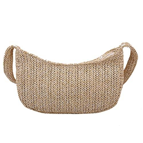 soloplay Bandolera tejida de paja simple, bolsa de hombro de color liso, bolsa de playa tejida para mujeres para uso diario en viajes de trabajo, camel, 230*135*40mm