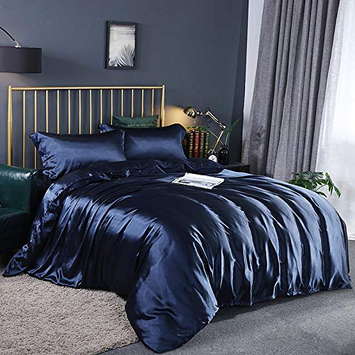 Bedding-LZ Juego de Funda de edredón para Cama de Matrimonio,Lavado de Doble Cara Lavado Seda Slide Quilt Set de Cuatro Piezas-1,8 m de Cama (4 Piezas)_T