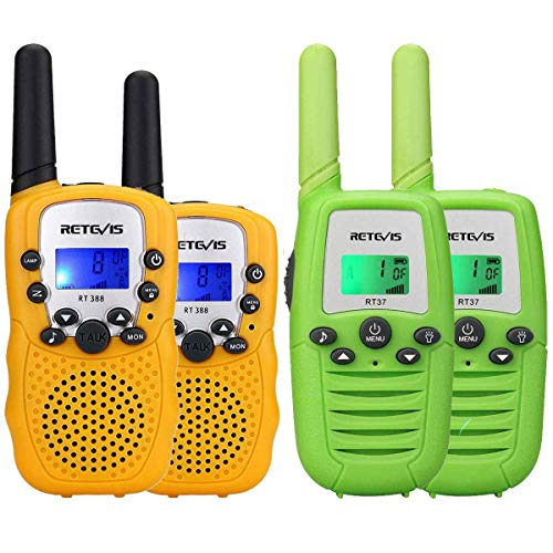 Retevis RT-388 Walkie Talkies for Kids,22 Channels Crystal Sound Two Way Radio Kids Toys(Yellow,1 Pair) and Retevis RT37 Walkie Talkies for Kids,Outdoor Toys Gifts for 4 to 12 Year Old(Green, 2 Pack)