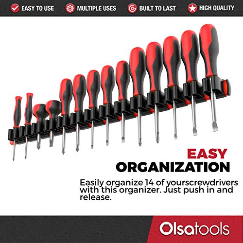 Olsa Tools Premium Wall Mount Screwdriver Organizer | Red Nylon + Black Clips | Holds 14 Screwdrivers