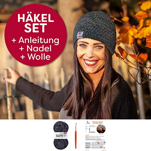 myboshi Häkel-Set Mütze Samt | aus No.1 | Anleitung + Wolle | mit passender Häkelnadel | Maus
