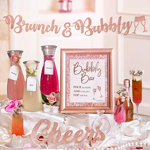Mimosa Bar Kit | Bachelorette Party Decorations, Rose Gold Birthday Decorations, Blush Pink Bridal Shower Banner, Princess Baby Shower for Girl, Snowflakes Girl Baby Shower, Bridal Brunch Decor (Rose)