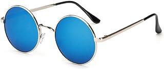 [FREESE] 丸型 サングラス 丸サングラス ラウンド型 ファッション丸メガネ UVカット 軽量 クロス&眼鏡ケース