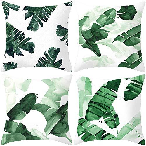 Funda de Cojín Decoración Almohada para Cojines Sofa para Sofá Sala de Estar Coche Cama Sillas Hogar Decorativa Funda de Almohada Cuadrado Juego de 4 45x45 cm Lino Plantas Verdes Tropicales,Estilo 2
