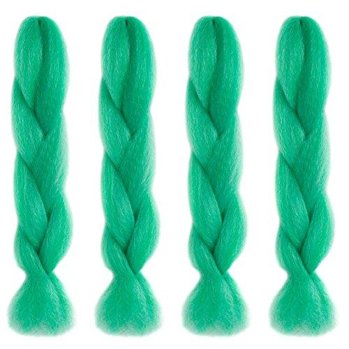 American Dream Premium Kanekelon Tresse pour cheveux Tissages, Dreads et son Style avant Garde Creative, Vert clair, bleu clair et argent Mix, Lot de 4