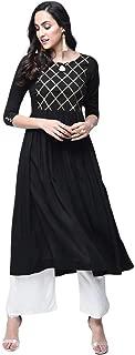 Stylum Women's Rayon A-Line Kurta Palazzo Set(Black)