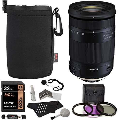 Tamron 18-400mm F/3.5-6.3 DI-II VC HLD All-in-One Zoom (6 Year Limited USA Warranty) for Canon APS-C Digital SLR Cameras, Lexar 32GB, TruDigita Filter Kit, Lens Pouch, and Accessory Bundle