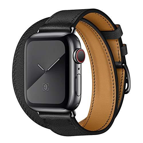 LIUZH Compatible con Apple Watch Band de 44 mm, 42 mm, 40 mm, 38 mm, cuero auténtico de repuesto para IWatch Series 6, 5, 4, 3, 2 1, SE (negro) (color: negro, tamaño: 38/40 mm)