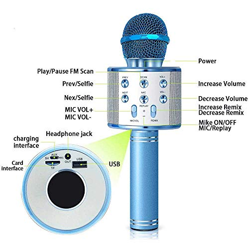 SUPER TOY Handheld Wireless Karaoke Mic Bluetooth Speaker Microphone with Audio Recording Function - Multicolor
