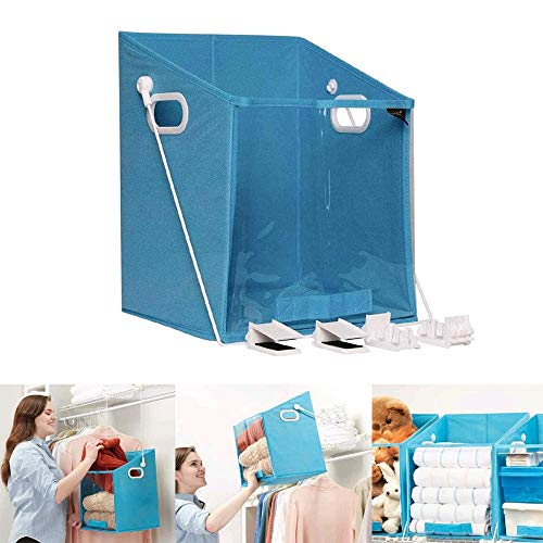 REFAHB Closet Caddy Dirty Clothes Storage Organizer,Rotatable Retrieve Clothes Organizer Case,Pull Down Shelf Storage System Foldable Laundry Organiser for Storage Dirty Clothes Toys(Blue)