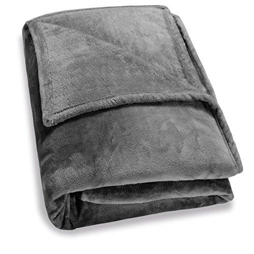 Deuba XXL Kuscheldecke Wohndecke 280 x 210 cm groß flauschig weich warm Tagesdecke Sofadecke Couchdecke - Dunkelgrau