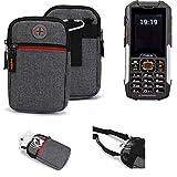 K-S-Trade® Gürtel-Tasche Für Cyrus cm 16 Handy-Tasche Holster Schutz-hülle Grau Zusatzfächer 1x