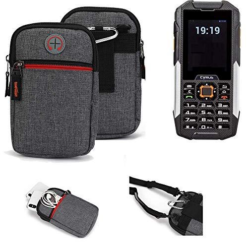 K-S-Trade® Gürtel-Tasche Für Cyrus cm 16 Handy-Tasche Schutz-hülle Grau Zusatzfächer 1x