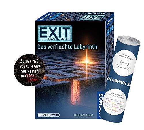 Exit Das Spiel - Set: Das verfluchte Labyrinth + 1x Exit-Sticker +1x optisches Täuschungsposter