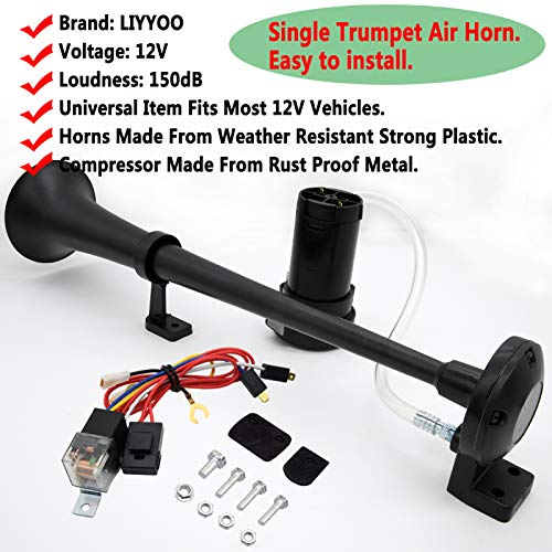 Single Trumpet Truck Air Horn with Compressor,18 Inches 12V 150db Air Horn Kit, for Any 12V Vehicles Trucks Lorrys Trains Boats Cars,Single Trumpet Air Horn Complete Kits ,Easy to Install, By LIYYOO