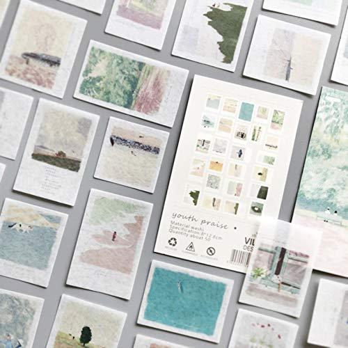 FSHB 50 Hojas de Pegatinas de Paisaje para álbum de Recortes, Adhesivo de Papel estético, Escamas, Accesorios de Oficina estacionarios, Suministros de Arte