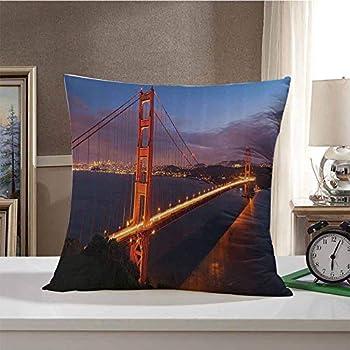 Decorative Square Throw Pillow Apartment Decor Collection,Panorama of Golden Gate Bridge Famous Architectural Scenery Headlands Landscape Print,Orange Blue 22 x22 ,Bedding Gift
