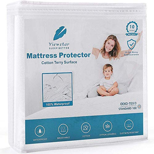 viewstar Waterproof Mattress Protector Queen Size, Noiseless Mattress Protection Bed Cover, Breathable Cooling Cotton Surface and Vinyl Free TPU, Hypoallergenic 18 inch Deep Pocket (60 x 80inch)