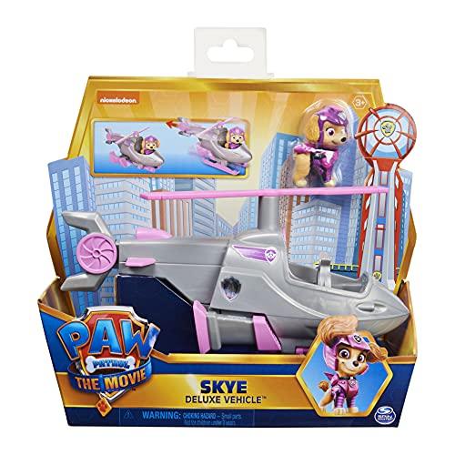 PAW PATROL Skye's Deluxe película Transformador Coche de Juguete con Figura de acción Coleccionable, Juguetes para niños a Partir de 3 años