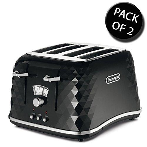 DeLonghi CTJ4003BK Brilliante Toaster, 4 Scheiben, Schwarz, 2 Stück