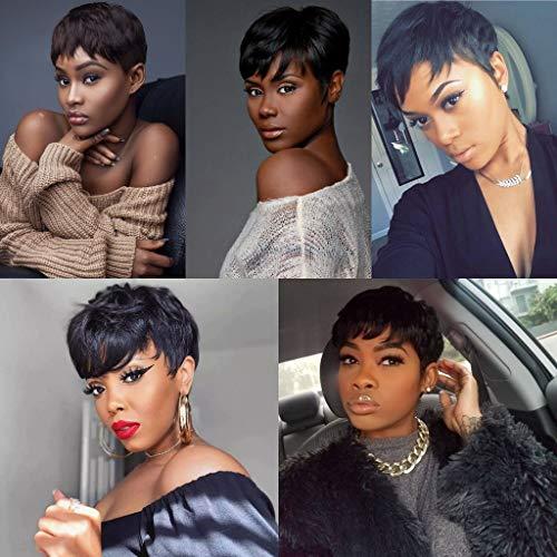 27 Piece Weave Human Hair short with Top Closure,1B Black Hair Brazilian Virgin Hair Extension for Women Pixie Wig (1B)
