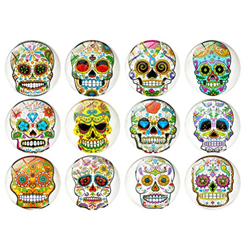 OSALADI 12pcs Sugar Skull Fridge Magnets Sugar Skull Cabochon Glass Dome Cabochons Skull Refrigerator Magnets Car Fridge Decoration (As Shown)