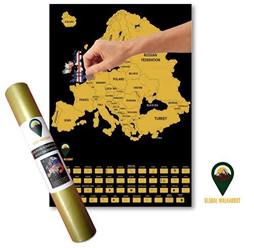 Global Walkabout Europakarte zum Abkratzen von Europa mit Flaggen-Hintergrund - Deluxe Mini-Reisegröße Europakarte - Länder und Fakten - Reisegeschenk Schwarz