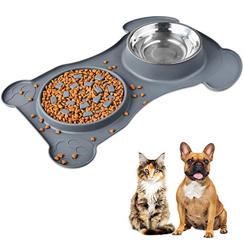 3-in-1 Slow Feeder Food Dog Bowl 15x20.5 in Large Pet Feed Mat 800ML Stainless Steel Bowl Anti-Spill Anti-Skid Silicone Mat Wet Dry Food for Large & Small Puppy Dog Cat