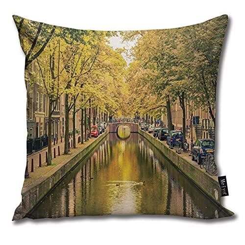 QUEMIN Puente sobre el Canal La Capital de Holanda con árboles Cojines Funda de cojín de algodón de 18 x 18 Pulgadas para la decoración del hogar de Verano