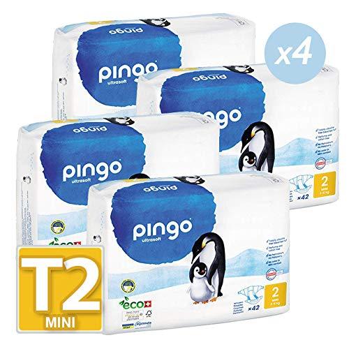 Pingo - Couches PINGO T2 écologiques et biodégradables 3/6kg (lot de 168 couches)