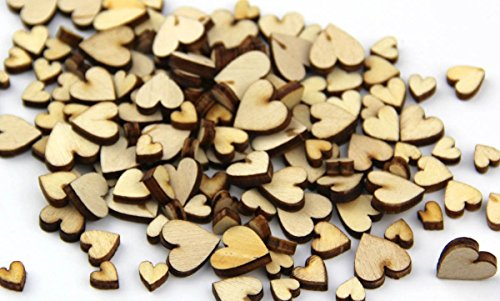 PsmGoods Wooden Heart Table Party Confetti Scatter Craft for Wedding DIY Decoration 200 Pack (Love Style)