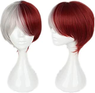 NiceLisa Unisex Short Silver Red Mixed Hair School Boy Academia Anime Hero Style Cosplay Costume Party Wigs