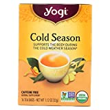 Yogi Tea Cold Season - Caffeine Free - 16 Tea Bags - USDA Organic - 100% Natural Herbal Supplement