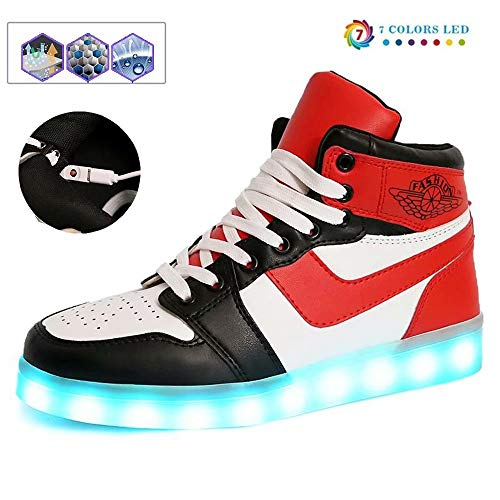 Temptation at dusk zy Led Schuhe Günstig,LED Schuhe 7 Farbe USB Auflade Leuchtend Sportschuhe LED Sneaker Turnschuhe Unisex Energy Lights Ausbilder High-Top Licht Blinkt Sneaker Mit(33-44) Red-44
