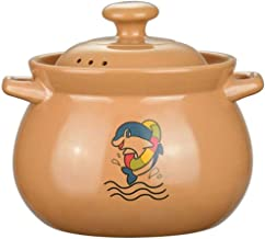 Cooking Pot Casserole Ceramic, with Handle and Lid Hand Made 100% Lead Free Safe Suitable for Open Flame Cooking,5.5L Deta...