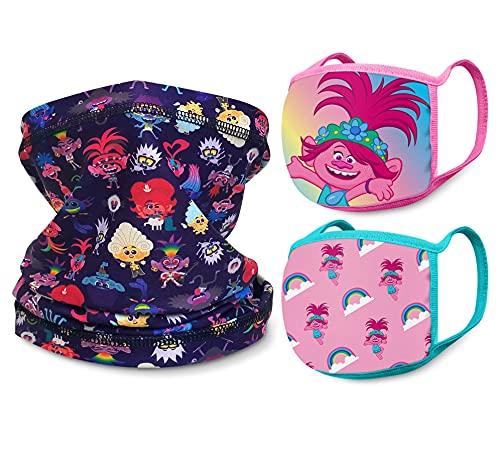 DreamWorks Trolls Girls' Face Mask Set - Neck Gaiter, Bandana, and Reusable Cloth Face Mask, Size 4-14, Trolls