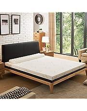 NOFFA Bambu madrassöverdrag enkel, 5 cm minnesskum madrassöverdrag inkluderar avtagbart överdrag med justerbara remmar, 90 x 190 x 5 cm