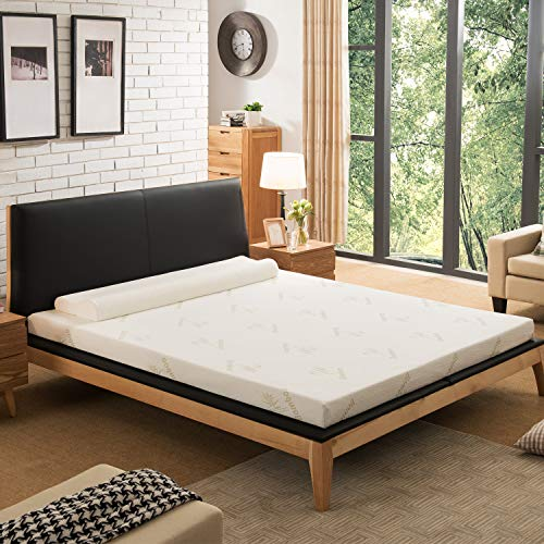 NOFFA Bamboo Mattress Topper King, 2' Memory Foam Mattress Topper Includes Removable Cover with Adjustable Straps, 150 x 200 x 5 cm