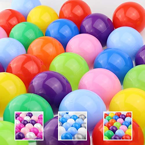 WELLGRO Bällebad - Bälle für Ballpool - 7cm Baby Spielbälle für Kinder - BPA frei - Hergestellt in der EU - Menge und Farbe wählbar, Stückzahl:200 Stück, Farbe:Bunt