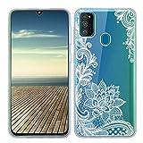 ZhuoFan Funda para Samsung Galaxy M31, Cárcasa Silicona Transparente con Dibujos Diseño Suave TPU Antigolpes de Protector Piel Case Cover Fundas para Movil Samsung Galaxy M31, Flor Blanca